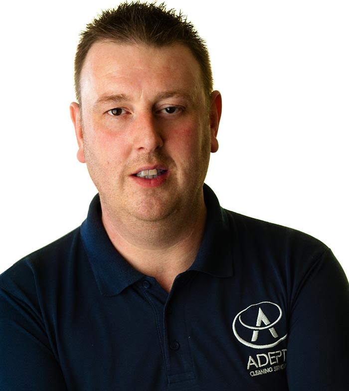 Michael Woodcock, MD of Adept Cleaning Services in Staffordshire & Cheshire.